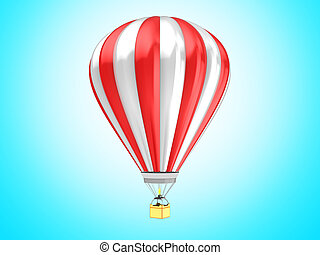 hot air baloon - 3d illustration of hot air baloon over blue...