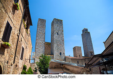 High ancient towers in Italian city