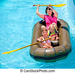 Family ride rubber boat - Family with children ride rubber...