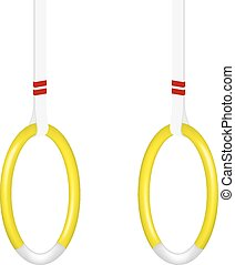 Gymnastic rings in yellow and white design on white...