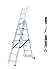 metal step-ladder - Aluminum metal step-ladder isolated...