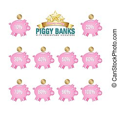 Piggy bank icons - Simple piggy bank icons with percentage...