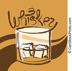 Vector Glass of Whiskey - vector glass of whiskey with ice...