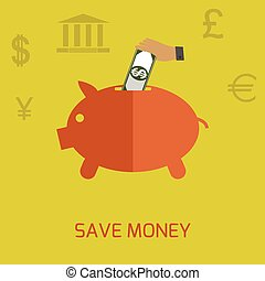 Save money, economy, savings concept. Hand with dollar...