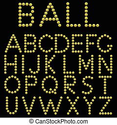 Alphabet - Yellow balls alphabet on the black background....