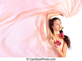 Young woman with pink fabric