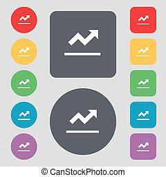 Graph chart, Diagram icon sign. A set of 12 colored buttons. Flat design. Vector