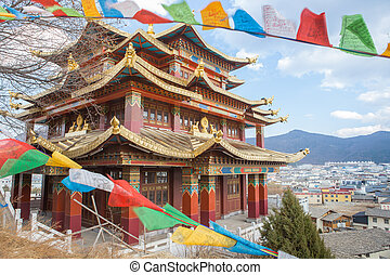 tibet - The Chaple of Tibetan monastery in Shangri-la Yunnan...