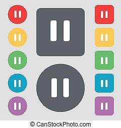 pause icon sign. A set of 12 colored buttons. Flat design. Vector