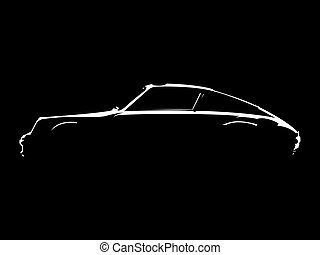 Sportscar silhouette - Car silhouette with black background