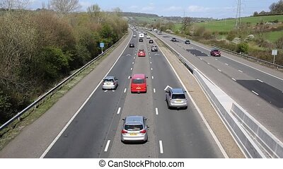 UK motorway traffic M5 Somerset - UK motorway traffic with...