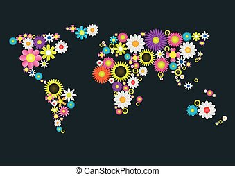 Flower World Map - Abstract Flower World Map Eco concept,...