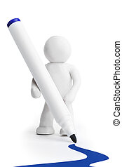 Plasticine man with felt-tip pen isolated on white...