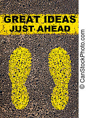 Great Ideas Just Ahead message Conceptual image with yellow...