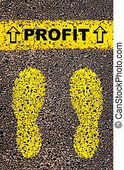 Profit message. Conceptual image