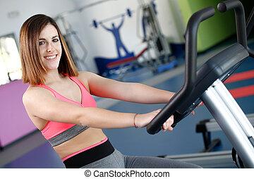 女, 自転車, 若い, トレーナー, 使用, 動かない