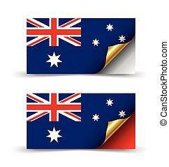 Australian flag with golden curled corner on white...