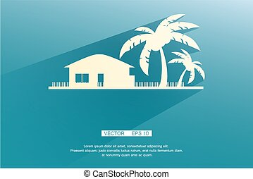Styled bungalows and palm trees white with flat shadows on a...