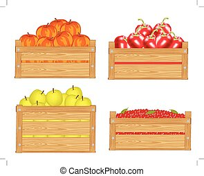 Fruits in box - Boxes with fruit and berry on white...