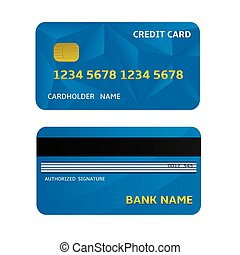 Bank Card - Blue Bank Credit Card Icons Vector illustration...