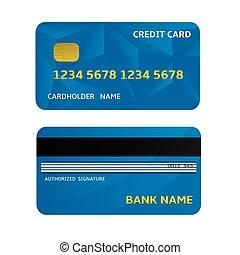 Bank Card - Blue Bank Credit Card Icons. Vector...