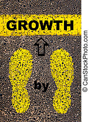 Growth step by step. Conceptual image with yellow paint...