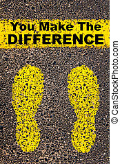 You Make the Difference message Conceptual image with yellow...