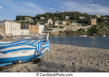 Boat on the Baia del Silenzio - Fishing boat on the Baia del...