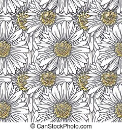 Daisies - Seamless pattern with hand - drawn daisies