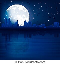 abstract background with silhouette of Tallinn and moon