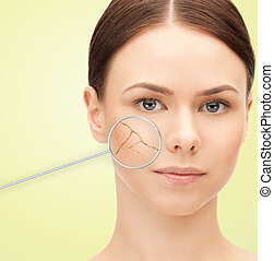woman face with dry dehydrated skin - health, people, skin...