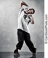 Young man modern dance High contrast colors