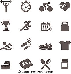 Health and Fitness icons vector set  with a stopwatch bodybuilder weights dumbbells heart  pulse trainer shoes bottled water