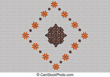 white background with embroidered orange-brown Ukrainian...