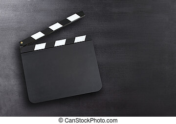 Clapper board with copy space - Blank movie clapper board on...