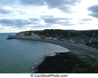 Etretat, Falaise d'Amont - Normandy, view from the Falaise...
