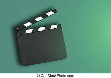 Clapper board - Blank clapper board with copy space on green...