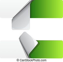 Green sticker with curled up edge. Vector illustration