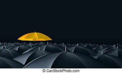 Umbrella standing out from crowd mass concept - Yellow...