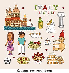 Vector Italy Doodle Art for Travel and Tourism