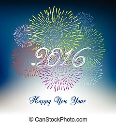nowy, fajerwerki,  2016, szczęśliwy, rok