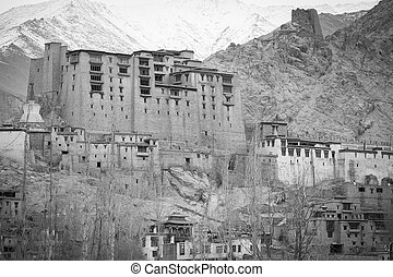 Leh - Black and White Old castle - Leh - Ladakh - Jammu and...