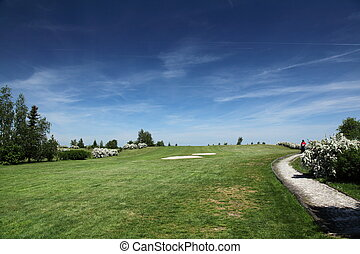 green of a beautiful golf course - golfer on a green of a...