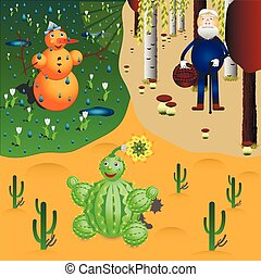 snowman, cactus and oldman - snowman meeting spring, oldman...