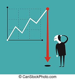 Business activity decline vector concept in flat cartoon...
