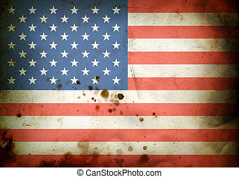 Burned flag of  USA - Flag of  USA on a burned old paper