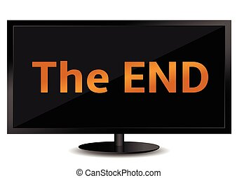 The end - The End text on the TV screen. Vector illustration