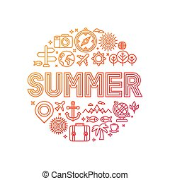 Vector summer lettering with linear icons and signs - travel...
