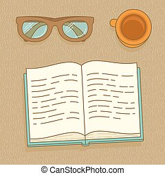 Vector linear icons - book, glasses and coffee cup on wooden...
