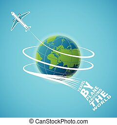 Air travel around the world vector concept
